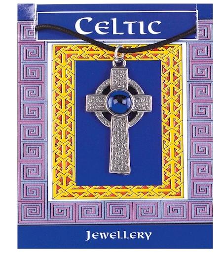 Pendentif croix celte avec pierre